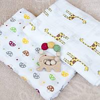 """Подарочный набор Ярмирина """"Жирафики"""": 2 муслиновые пеленки 110х110 и игрушка-грызунок """"Слоник"""""""