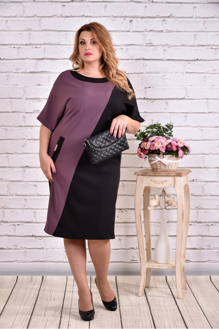 0f938498902381b Женское прямое платье миди 0622 цвет бисквитно-черный / размер 42-74 /  большие