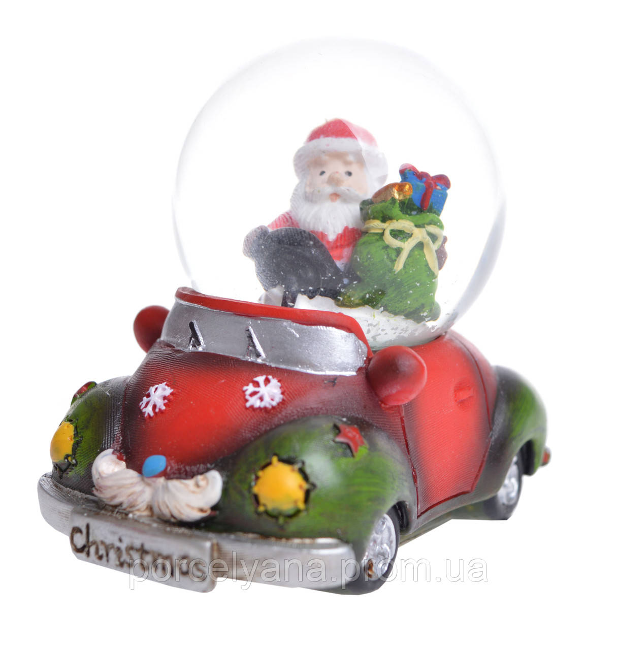 Снежный шар Санта на машине 6 см