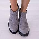 Ботинки замшевые серые женские Woman's heel на каблуке с молнией, фото 2
