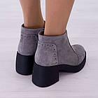 Ботинки замшевые серые женские Woman's heel на каблуке с молнией, фото 4
