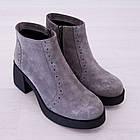 Ботинки замшевые серые женские Woman's heel на каблуке с молнией, фото 6