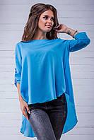 Шифоновая женская блузка с открытой спиной батал