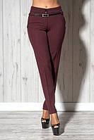 Стильные женские бордовые брюки в мелкую клетку