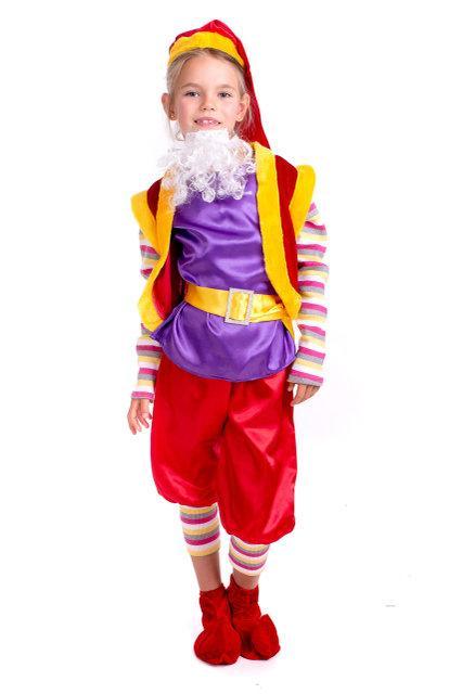 Детский карнавальный костюм Гном красно-фиолетового цвета