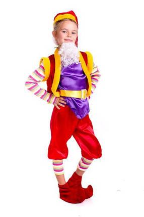 Детский карнавальный костюм Гном красно-фиолетового цвета, фото 2