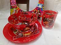 """Набор яркой детской посуды с любимыми мультфильмами """"маша и медведь"""""""