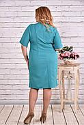 Женское прямое платье миди 0622 цвет бело-голубой / размер 42-74 / большие размеры, фото 4