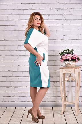 Женское прямое платье миди 0622 цвет бело-голубой / размер 42-74 / большие размеры, фото 2