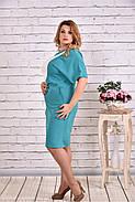 Женское прямое платье миди 0622 цвет бело-голубой / размер 42-74 / большие размеры, фото 3