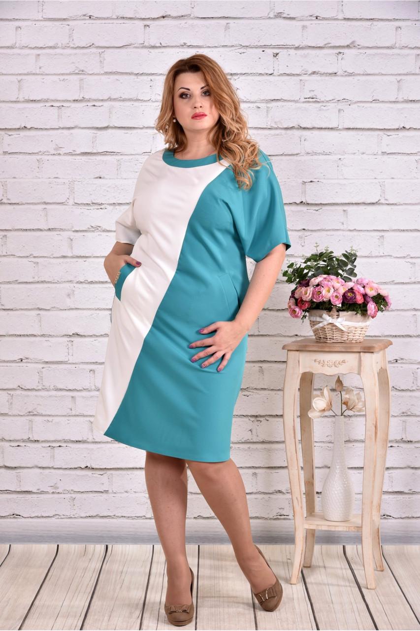 Женское прямое платье миди 0622 цвет бело-голубой / размер 42-74 / большие размеры