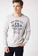 Серый мужской свитшот De Facto/ Де Факто с надписью на груди New York City
