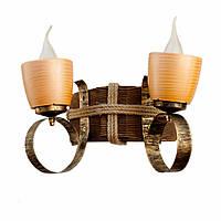 Светильник из дерева бра настенное  с двумя натуральными керамическими горшками-плафонами ГП-13