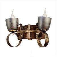 Светильник из дерева бра настенное  с двумя натуральными керамическими горшками-плафонами ГП-14