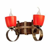 Светильник из дерева бра настенное  с двумя натуральными керамическими горшками-плафонами ГП-15
