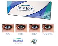 Цветные конт. линзы(+подарок) на 1 день Freshlook One Day, (blue, green, grey), 10шт