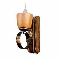 Светильник из дерева бра настенное с одним натуральным керамическим плафоном горшком ГП-16