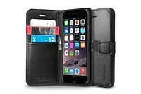 Книжка-Чехол Spigen для iPhone 6s / 6 Wallet S, Black Leather