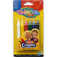 Аквагрим, карандаши для лица 6 цветов детская косметика