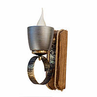 Светильник из дерева бра настенное с одним натуральным керамическим плафоном горшком ГП-17