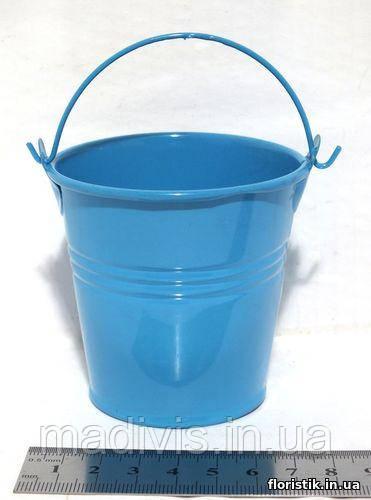 Ведерко декоративное 7 см. голубое