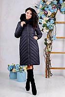 Зимняя куртка женская с натуральным мехом черная