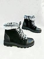 Модные зимние ботинки из натуральной кожи Черный, 38