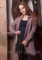 Женский коричневый  вязаный шерстяной кардиган с поясом