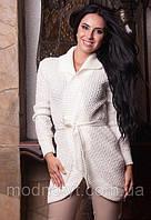 Женский белый  вязаный шерстяной кардиган с поясом