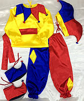 Премиум! Арлекин Детский Карнавальный костюм, Комплектация 5 Элементов, Размеры 3-6 лет, Украина