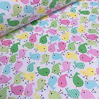 Детская фланель с розовыми и салатовыми птичками №746