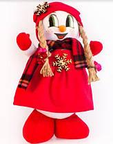 Мягкая новогодняя игрушка Снеговик 32 см Girl Red, фото 3
