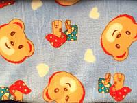 Ткань Махра Велсофт детский принт с мишкамиширина 220 см