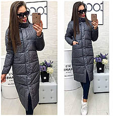 Прямое женское утепленное стеганое пальто, фото 3