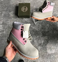 Ботинки Timberlend 6 Inch Grey/Pink (Без меха) женские тимберленд