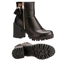 Черные демисезонные ботинки на устойчивом каблуке, 36,37,38р