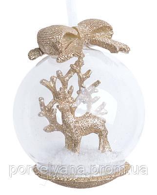 Снежный шар подвесной Новый Год Лось золото 10см