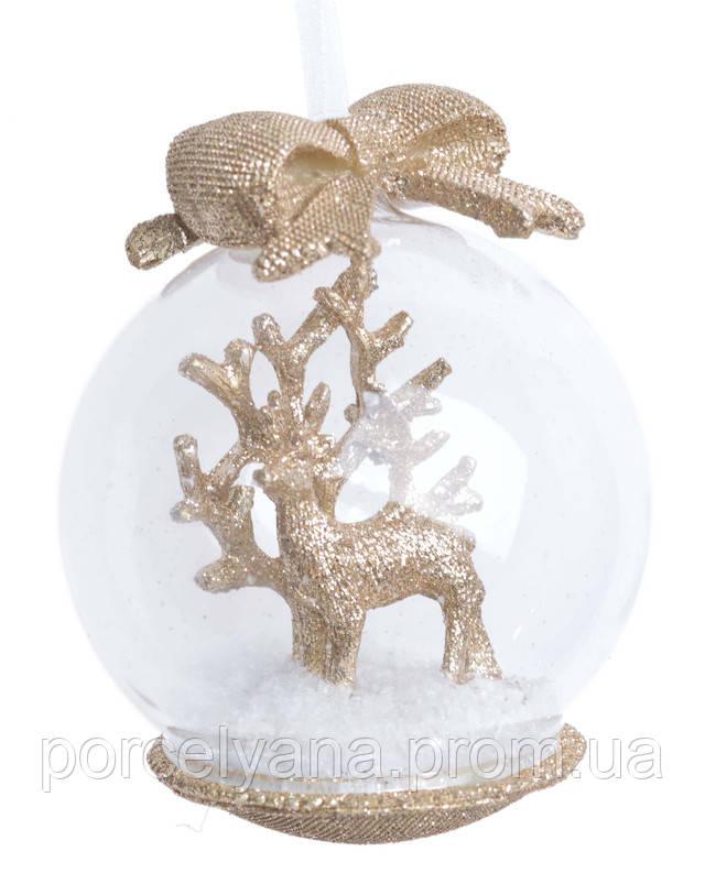 Снежный шар Новый Год Лось золото 10см
