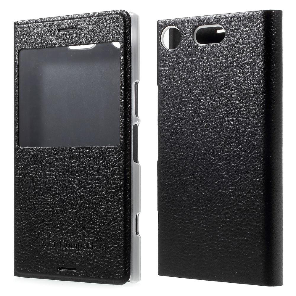 Чехол книжка для Sony Xperia XZ1 Compact боковой с окошком, черный