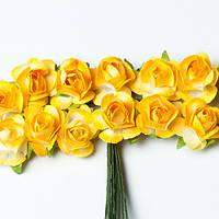 Набор розочек желтые 15 мм 12 шт
