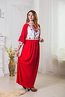 Платье вышитое красное