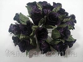 Букет тканевых роз 20 цветков, чернильно-фиолетовые