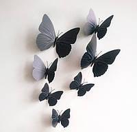 Бабочки бумажные на магните черные 12 см