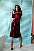 Женское красивое нарядное платье из бархата с открытыми плечиками (