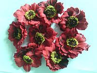 Голова цветов из фоамирана (мак) 4см разные 7322