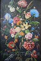 Картина маслом на холсте Цветы на черном фоне под старину. Необычный подарок на 8 марта