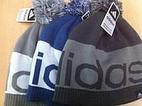 РАСПРОДАЖА Спортивная шапка двойной вязки и на подкладке с бубоном