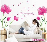 Интерьерная наклейка на стену Романтические цветы (205х150см)