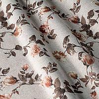 Ткань для штор в мелкий цветок на сером фоне