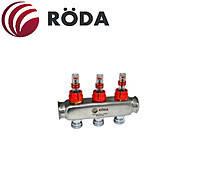 Колектор  розподільний латунь з витратомірами 5 вих.Roda